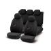 Set of universal elasticized velvet seat covers ''SPEED'' black